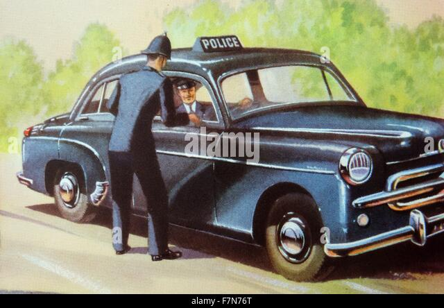 English police car and policemen 1948 - Stock Image
