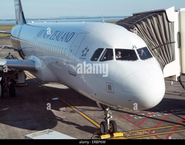 Air New Zealand passenger jet at Auckland Airport - Stock Image