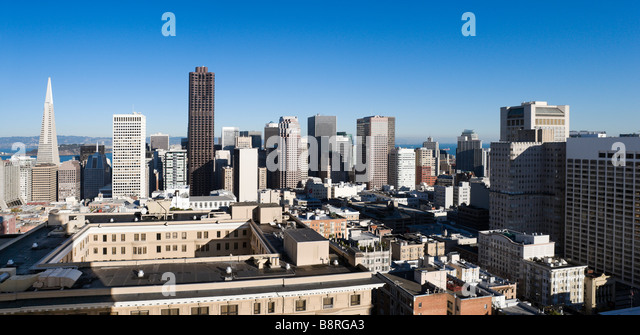 The downtown financial district from the Interncontinental Mark Hopkins Hotel, Nob Hill, San Francisco, California, - Stock-Bilder