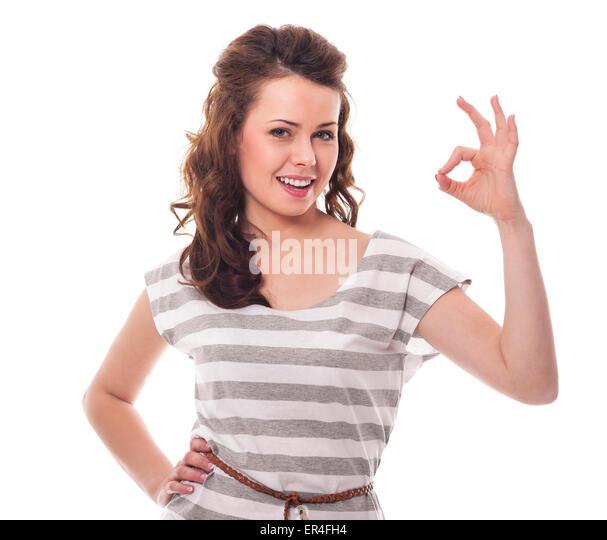 Beautiful woman signing OK - Stock Image