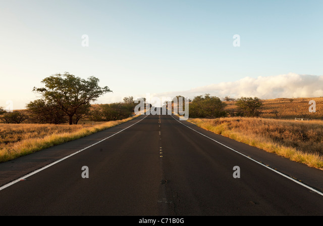 Highway 270 on the Big Island of Hawaii is seen without any cars traveling on its path. - Stock Image