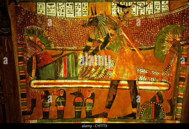 Egypt, Cairo, Egyptian museum. Interior of coffin. Decorations and hieroglyphs. - Stock Image