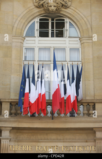 French flags, Paris, France, Europe - Stock-Bilder