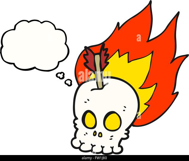 freehand drawn thought bubble cartoon skull with arrow - Stock-Bilder