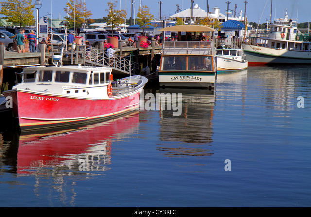 Portland Maine Historic Old Port District Congress Street Custom House Wharf Casco Bay commercial fishing boats - Stock Image