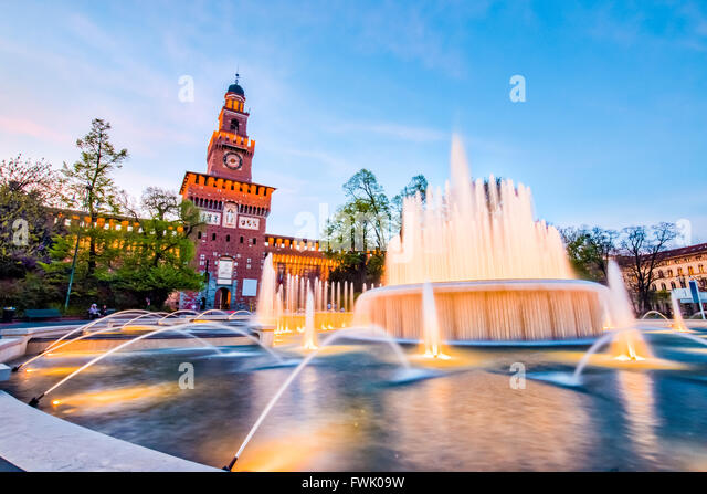 Sforza Castle in Milan, Italy. - Stock Image