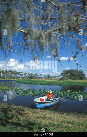 St Johns River Florida fisherman - Stock Image
