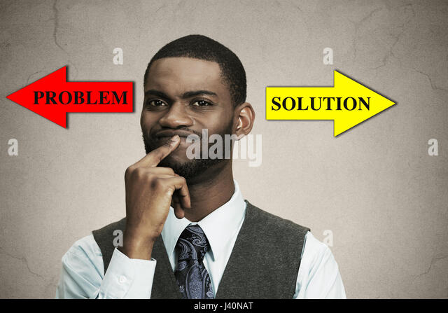 Closeup portrait business man thinking about something, finger on lips looking for solution of problem isolated - Stock Image