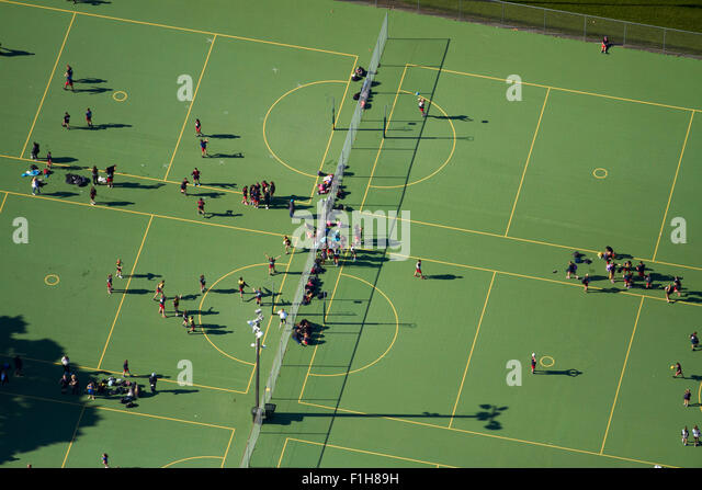 Pukekohe Netball Courts, Pukekohe, South Auckland, North Island, New Zealand - aerial - Stock Image