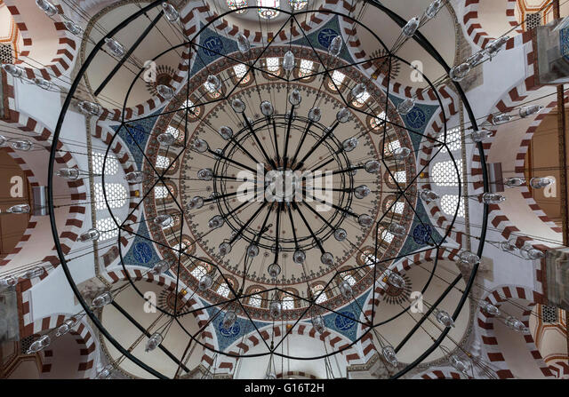 View over the central dome of Rustem Pasha Mosque from inside, Istanbul, Turkey - Stock Image