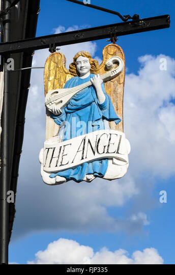 The traditional pub sign of The Angel pub, Lavenham, Suffolk, England, UK. - Stock Image