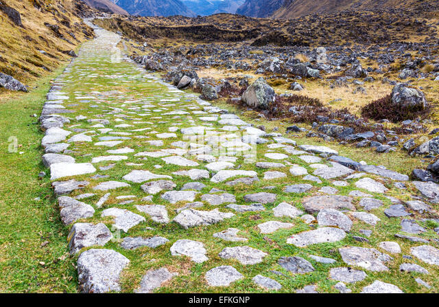 Ancient paved Incan road on the El Choro trek in the Andes mountains near La Paz, Bolivia - Stock Image