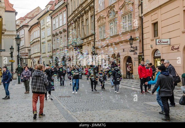 Old Town Square or colloquially Staromák is a historic square in the Old Town quarter of Prague. - Stock Image