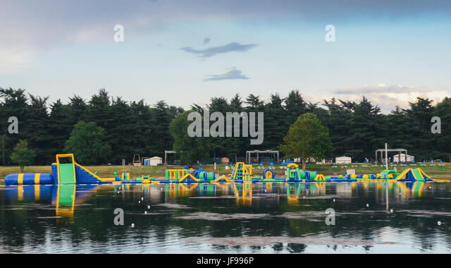Playground for kids on the water - Stock Image