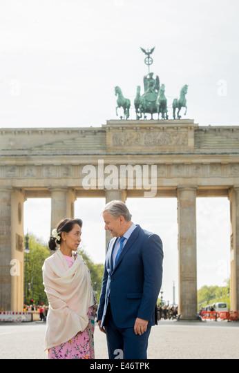 Berlin, Germany, Aung San Suu Kyi, NLD, and Klaus Wowereit, SPD - Stock-Bilder