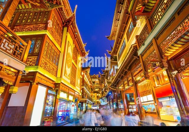 Shanghai, China at traditional Bazaar near Yuyuan Gardens. - Stock-Bilder