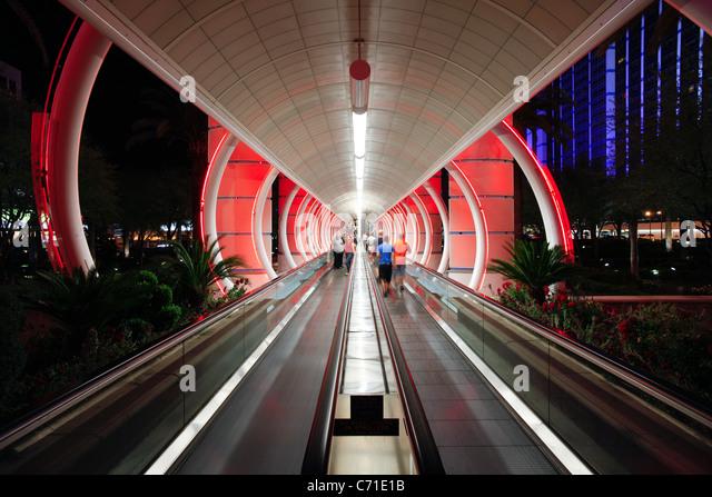 United States of America, Nevada, Las Vegas, The Moving Walkway to Balleys Hotel and Casino, Las Vegas Boulevard - Stock Image