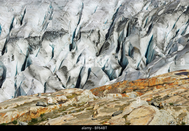 Aletsch Glacier, UNESCO World Heritage Site Jungfrau-Aletsch-Bietschhorn, Goms, Valais, Switzerland, Europe - Stock Image