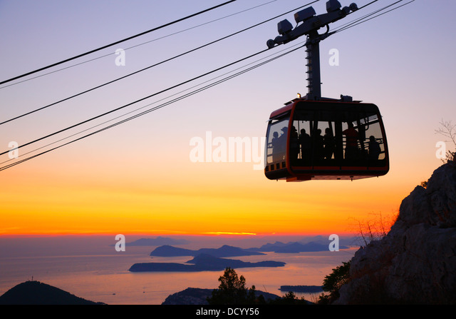 Dubrovnik, Cable car at sunset - Stock Image