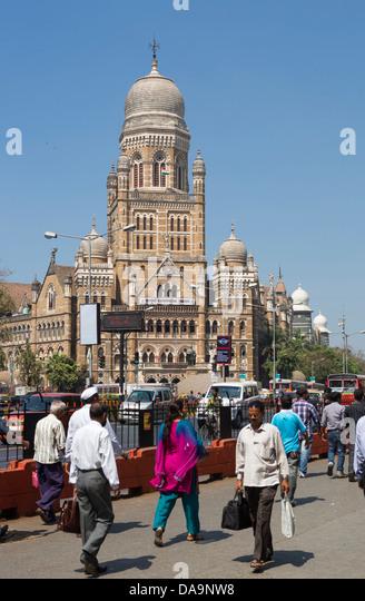 India, South India, Asia, Maharashtra, Mumbai, Bombay, City, Dadabhai Naoroji, Road, Municipal Corporation, Building, - Stock Image