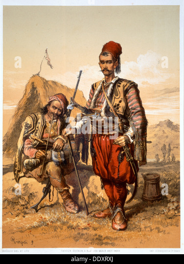 Turkish foot soldiers in the Ottoman army, 1857. Artist: Amadeo Preziosi - Stock Image