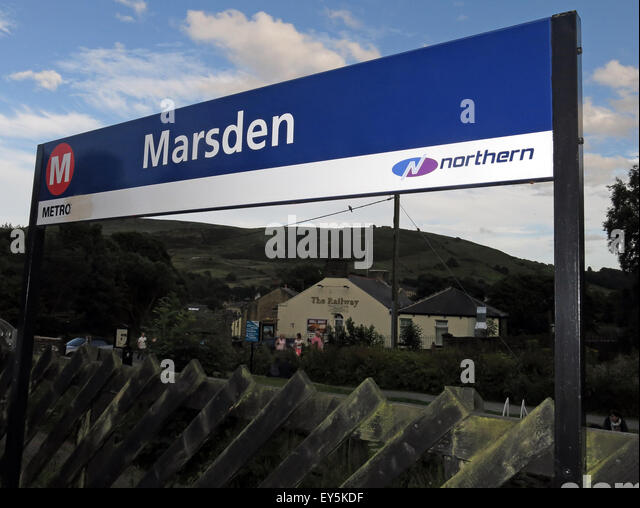 Marsden railway station sign,maintained by Northern rail, West Yorkshire Metro, England, UK - Stock Image