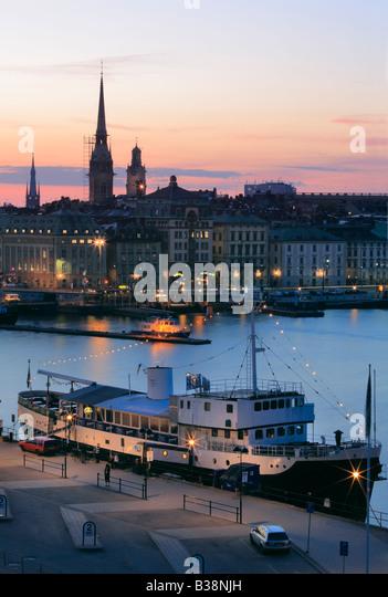 Stockholm's Slussen by night - Stock Image