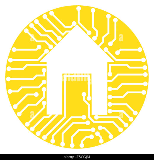 Connected home symbol conceptual illustration of circuits with a house symbol inside a yellow circle isolated on - Stock Image