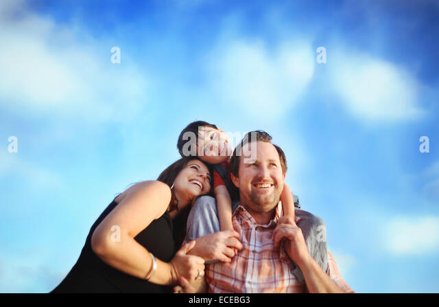 Family portrait with one child - Stock Image