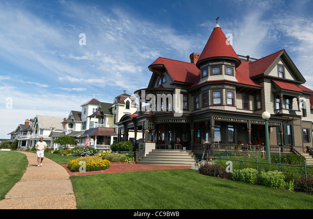 Historic Gingerbread Mansions Oak Bluffs Martha's Vineyard Cape Cod Massachusetts USA - Stock Image
