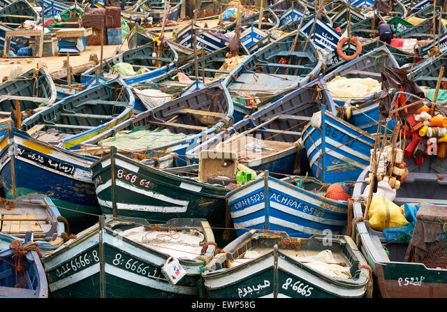 Agadir, fishing boats in old port. Morocco - Stock Image