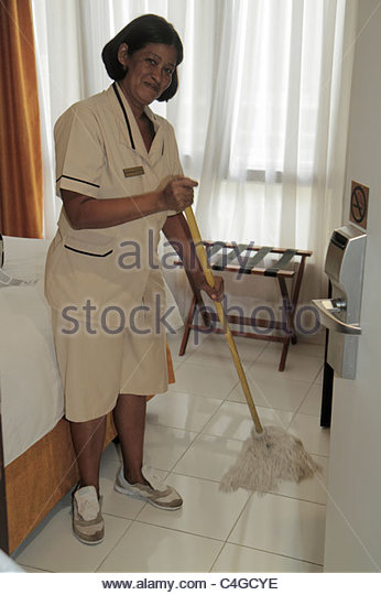 Dominican Republic Santo Domingo Ciudad Colonia Mercure Comercial hotel Hispanic business hospitality housekeeper - Stock Image