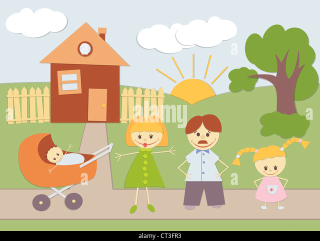Baby Applique family background at home. - Stock-Bilder