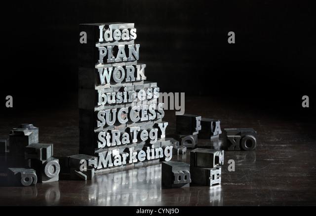 Business concept: words of antique metal letter-press type. - Stock-Bilder