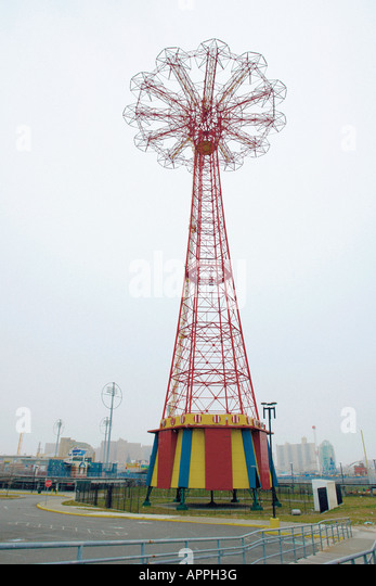 Winter Scene of The Parachute Jump at Coney Island in Brooklyn New York City USA Copy Space - Stock Image