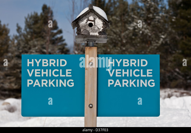 A sign for Hybrid Vehicle Parking, New York State - Stock Image
