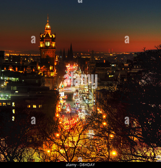 Edinburgh City at Night Princes St dusk glow from early evening traffic - Stock Image