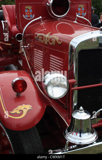 fire truck, fire engine, old, antique, nostalgic, red, Laval, Quebec, Canada, vintage - Stock-Bilder