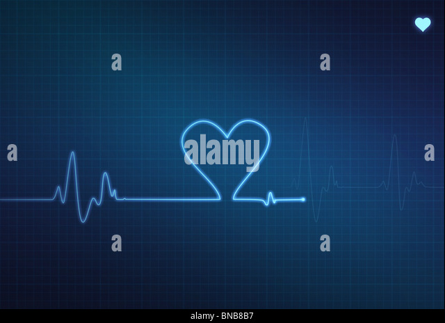 Heart-shaped blip on a medical heart monitor (electrocardiogram) with blue background and heart symbol - Stock Image