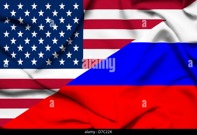 United States of America and Russia waving flag - Stock Image
