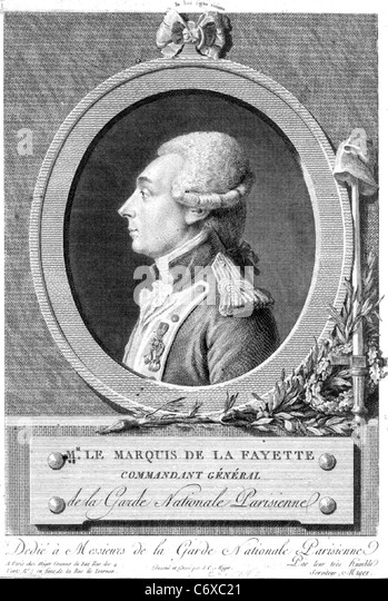 MARQUIS de la FAYETTE (1757-1834) French aristocrat and soldier - Stock Image