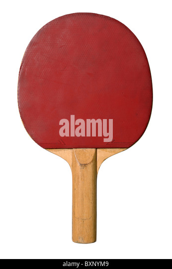 Red table tennis bat - Stock Image