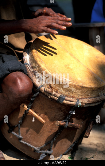 Honduras Garifuna Drum Drumming Festival - Stock Image