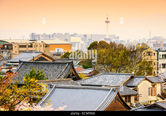 Kyoto, Japan skyline over temple and shrine rooftops. - Stock-Bilder