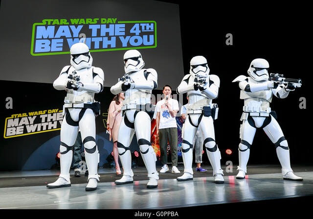 Tokyo, Japan. 4th May, 2016. Stormtroopers perform during the launch event for ''Star Wars: Episode VII - Stock Image