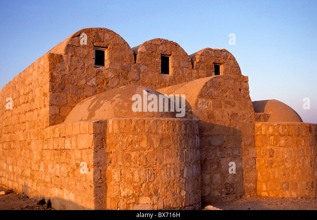 Ruins of Qasr Amra, an 8th century castle in the desert, Jordan - at dusk - Stock Image