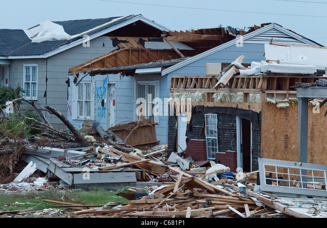 Part of the damage from the April 27, 2011 Tuscaloosa, Alabama tornado damage as viewed 6 weeks later on June 16. - Stock Image