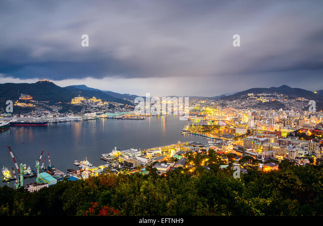 Nagasaki, Japan city skyline at the bay. - Stock Image