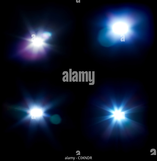 Four flares isolated on black with no overlay. - Stock Image