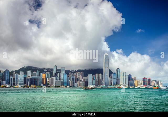 Hong Kong, China city skyline at Victoria Harbor. - Stock Image